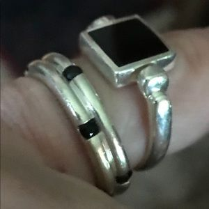 Sterling Silver and Black Onyx Ring Set